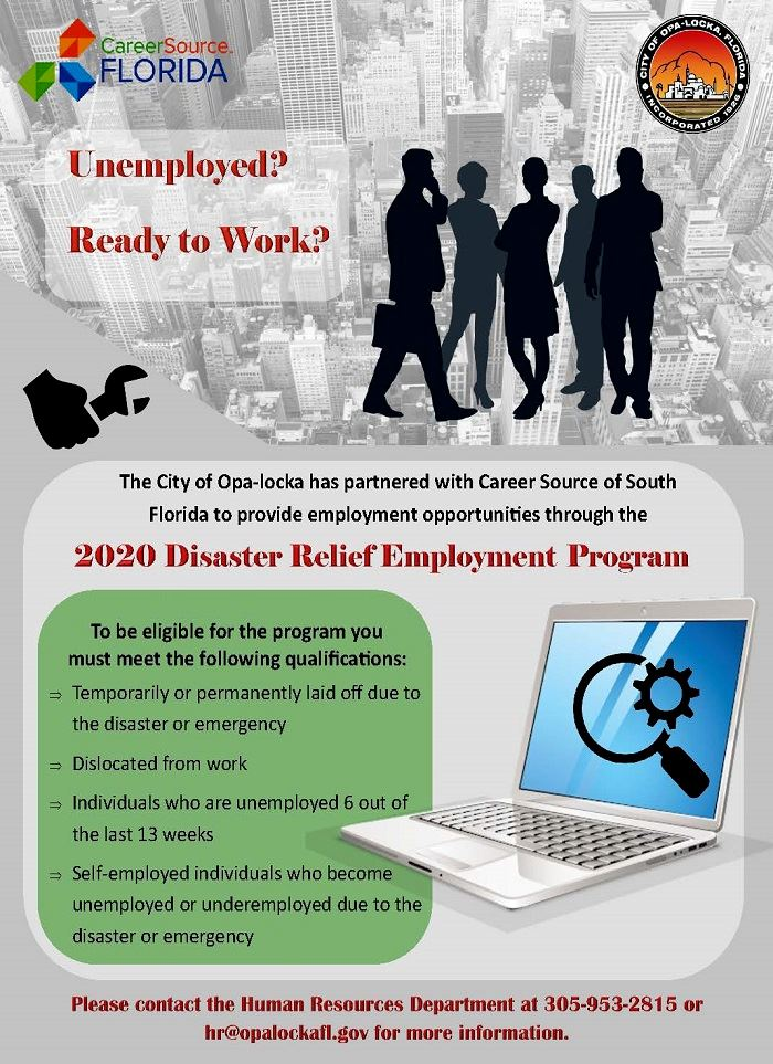 South Florida Work Force Disaster Relief Jobs Flyer 2020